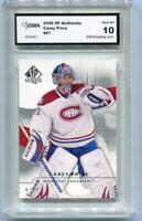 2008 Carey Price SP Authentic Card Gem Mint 10 #87