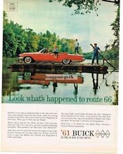 1961 BUICK  Electra Red Convertible Crossing River On Raft Vtg Print Ad