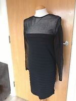 Ladies Dress Size L 12 14 ZARA Black Wiggle Pencil Sheer Panels Party Evening