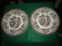 """2 Royal Staffordshire Tonquin brown 10"""" dinner plates"""