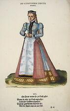 Jost Amman Tracht einer Frau Ehrkleid Gast alter kolorierter Holzschnitt 1577