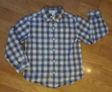 Boy Size 6 Janie and Jack Blue Plaid Long Sleeve Buttondown Shirt
