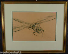 "ROBERT BATEMAN RCA 21.5 x 14.5"" Original Large Charcoal Drawing Dragonfly 1961"