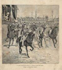 Stampa antica REGGIO EMILIA manovre militari palco regina 1887 Old antique print