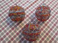 """ALMOST 4"""" TALL BEADED ORNAMENTS WIRE BALLS SET OF 3 RUST ORANGE PALE GREEN"""