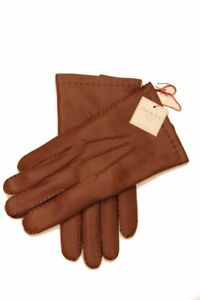 Dents: English Tan Handsewn Cashmere Lined Hairsheep Leather Gloves - Size 9.5 E