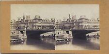 Paris La Seine et l'Hôtel de ville Stereo Vintage albumine ca 1860