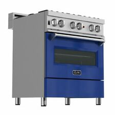 "Zline 30"" Dual Fuel Range Oven Gas Electric Stainless Blue Gloss Door Ras-Bg-30"