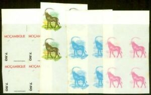 Mozambique 1977 15e Sable Antelope imperf proof blocks