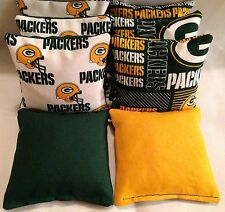 Green Bay Packers 8 Cornhole Bags Bean Toss 4 Of Each Print W/Duck Backs w/pw