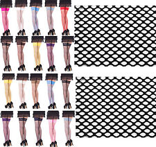 Sexy Fishnet Hold Up Stockings With Lace Top - 15 Various Colours,Sizes S,M,L,XL