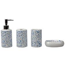Terrazzo 4 Piece Ceramic Bath Accessory Set, Blue Eby65607