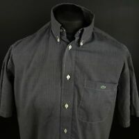 Lacoste Mens Vintage Casual Shirt 41 (LARGE) Short Sleeve Graphite Gingham