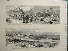 1883 VICTORIAN PRINT ~ NEW RAILWAY BRIDGE INDUS AT ATTOCK MALAY PENINSULA