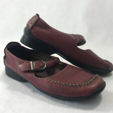 Hush Puppies Womens Sz 6.5 M Red Leather Buckle Mary Janes Loafer Comfort Flats