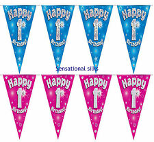 Happy 1st Birthday Holographic Bunting 3.9 Metres Long 11 Flags Blue & Silver