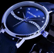 Excellanc Damen Armband Uhr Blau Silber Farben Strass L42
