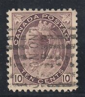 "Canada Scott #83  10 cent brown violet  ""QV Numeral""   F"
