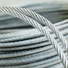 10m - 200m Drahtseil SET 3mm 6x7 Stahlseil Klemmen Verzinkt Stahl Draht Seil TOP