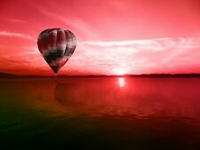 Hot Air Balloon Sunset Sea HD POSTER