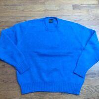 VTG 80s Abercrombie & Fitch Men's XL Shetland Wool Sweater Blue Speckle Fleck