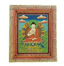 Bouddha Peinture sur Bois Tibetaine Nepal Tangka Buddha  5334