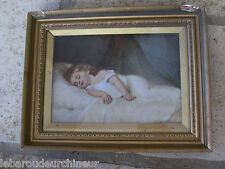 gravure reproduction photo grand nom 19s enfant qui dort