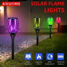 Waterproof Led Solar Power Torch Lights Home Yard Dancing Flickering Flame Lamp