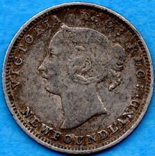 Canada Newfoundland 1888 5 Cents Five Cent Small Silver Coin - Very Fine
