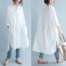 Ladies Cotton Long Shirt Dress White Blouse Casual Baggy White Oversized Fashion