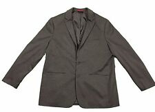 Alfani Big and Tall Faux Leather Trim Black Heather Two Button Blazer in 2XLT