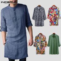 Men's Kurta Collarless Shirt Floral Printed Party Formal Short Kaftan Tunic Tops