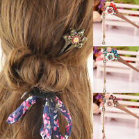 Vintage Women Flower Wooden Hair Stick Hairpin Crystal Hair Pins Chinese Style