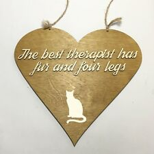 Cat Lovers Heart Plaque Therapist Large Handmade Rescue Me Charity