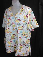 Womens Looney Tunes Tweety Bird Christmas Medical Scrubs XL Shirt Top Nurse Vet