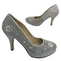 LADIES DIAMANTE HIGH HEEL WEDDING EVENING PROM COURT SHOES SIZE 3-8 H100