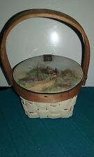 Wicker mini picnic basket with lid and handle and drawing on lid