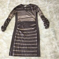 PINK ROSE Brown Striped Ribbed Knit Sweater Dress P M  Ruched Sleeves V Neckl