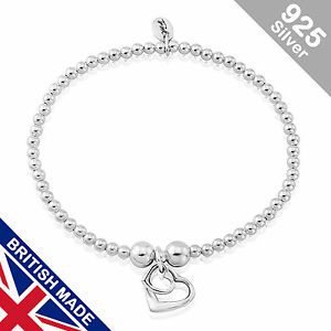 Trink Brand Two-Hearts Sterling Silver Beaded Charm Bracelet