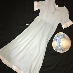 Regency day dress gown costume size 10 large  Jane Austen pale blue hat