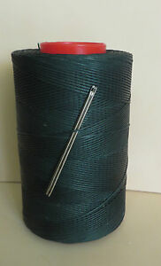 RITZA TIGRE WAXED HAND SEWING THREAD 0.8mm  FOR LEATHER & 2 NEEDLES GREEN JK11