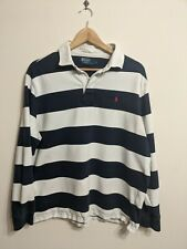 Vintage Polo Ralph Lauren Rugby Shirt Size L Blue Striped Long Sleeve