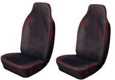 HEAVY DUTY SINGLE PAIR FRONT VAN BLACK & RED WATER RESISTANT SEAT COVERS