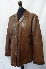 Women's vintage anni'70 MARRONE PELLE SAFARI Blazer Taglia 12-14 CC9555