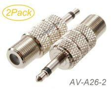 "2Pack 3.5mm (1/8"") TS Male to F-type Female Coaxial Metal Adapter, AV-A26-2"