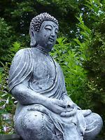 Buddha-Old Style-Skulptur-38cm-Steinguss-Patina weiß-Frostfest-Garten Figur Neu