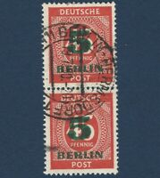 1949 BERLIN 5 GREEN OVERPRINT STAMPS PAIR WITH HERMSDORF POSTMARK, SCOTT #9N64