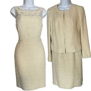 Brooks Brothers Lurex Tweed Size 6 Two Piece Jacket and Dress Suit Set