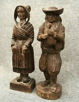 Antique pair of french britain figures sculptures  wood 19th century woodwork
