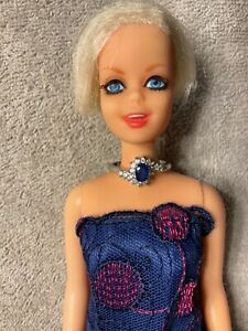 Vintage Twiggy twist and turn with long royal blue dress